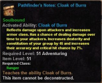Pathfinder's Notes Cloak of burrs.png
